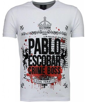 Local Fanatic Pablo Escobar Boss - Rhinestone T-shirt - Wit