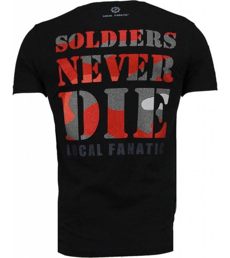 Local Fanatic Army Skull - Rhinestone T-shirt - Zwart