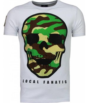 Local Fanatic Army Skull - Rhinestone T-shirt - Wit