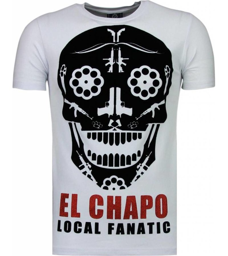 Local Fanatic El Chapo - Flockprint T-shirt - Wit