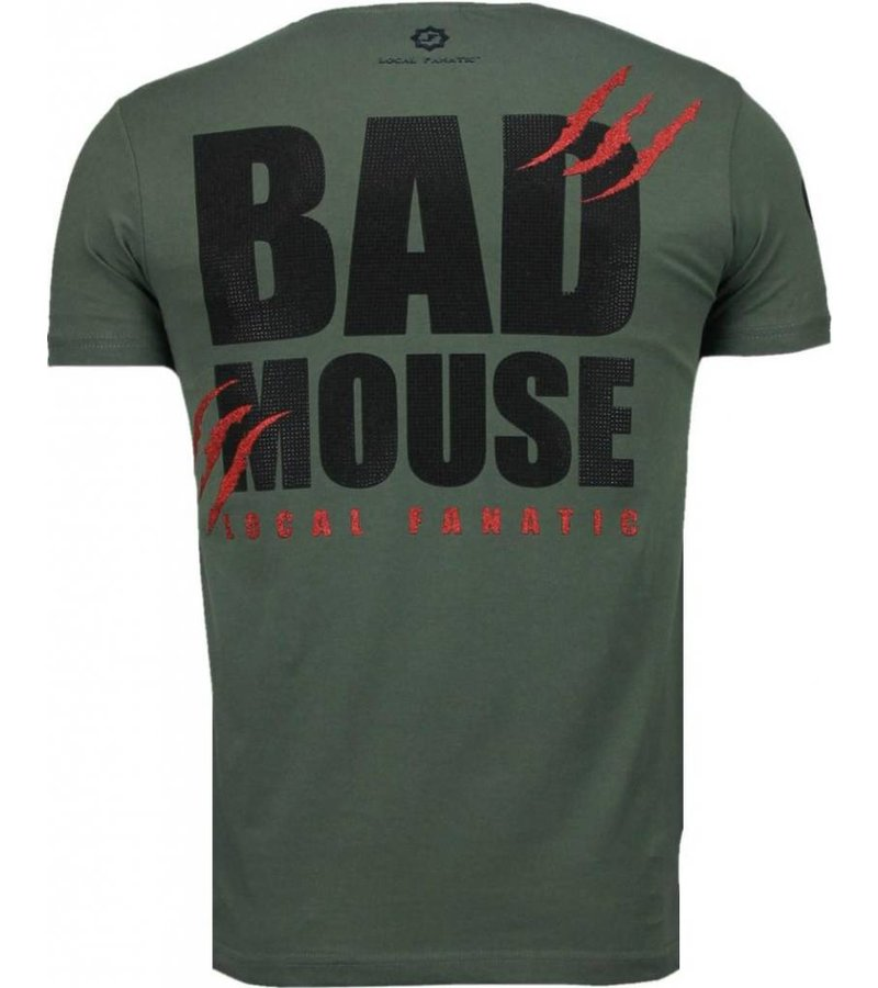 Local Fanatic Bad Mouse - Rhinestone T-shirt - Groen