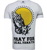 Local Fanatic Jezus - Rhinestone T-shirt - Wit