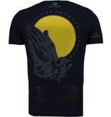 Local Fanatic Jezus - Rhinestone T-shirt - Navy