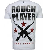 Local Fanatic Rough Player Skull - Rhinestone T-shirt - Wit