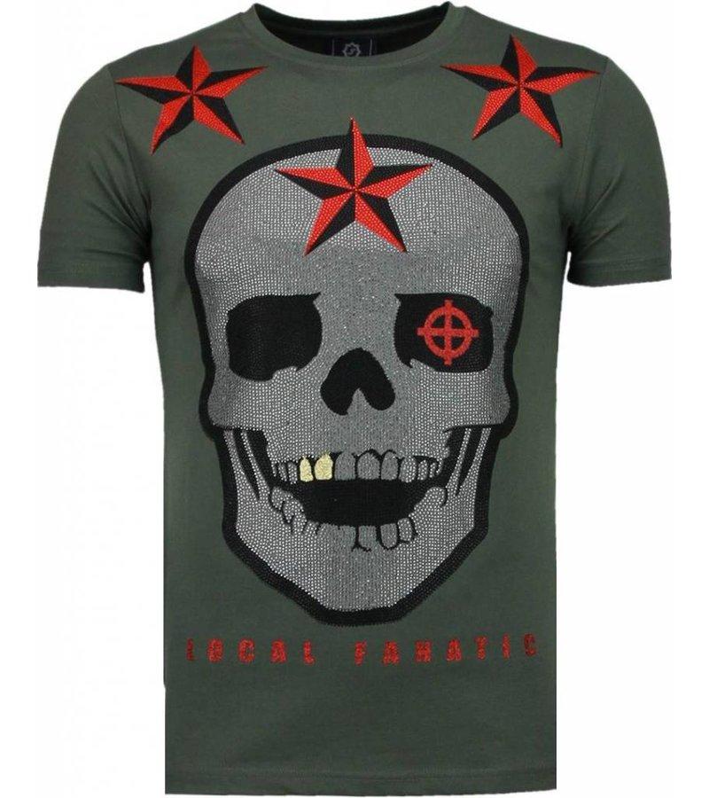 Local Fanatic Rough Player Skull - Rhinestone T-shirt - Green