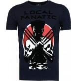 Local Fanatic Wolverine - Flockprint T-shirt - Navy