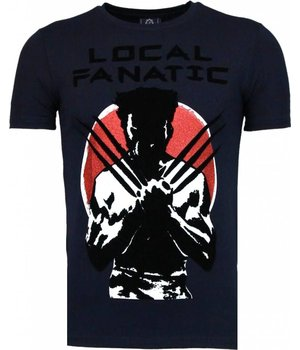 Local Fanatic Wolverine - Flockprint T-shirt - Navy