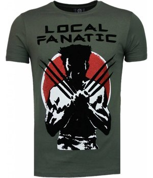 Local Fanatic Wolverine - Flockprint T-shirt - Groen