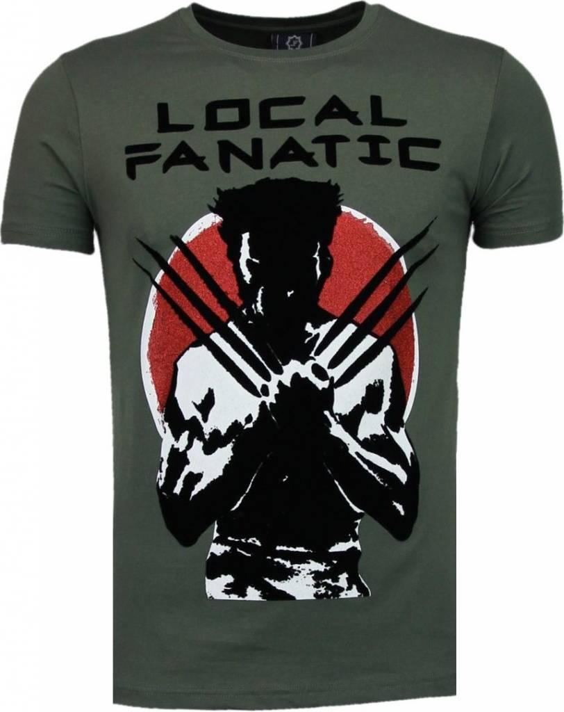 Local fanatic wolverine flockprint t shirt groen for Local t shirt print shops