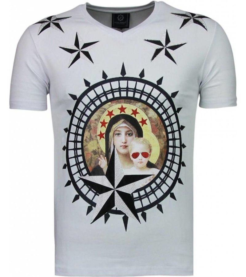 Local Fanatic Holy Mary - Rhinestone T-shirt - Wit