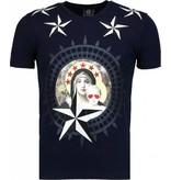 Local Fanatic Holy Mary - Rhinestone T-shirt - Navy