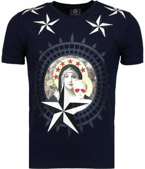Local Fanatic Holy Mary - Rhinestone T-shirt - Navy