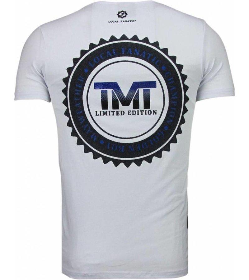 Local Fanatic Golden Boy Mayweather - Rhinestone T-shirt - Wit