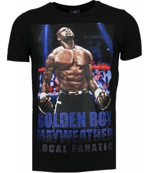 Local Fanatic Golden Boy Mayweather - Rhinestone T-shirt - Zwart