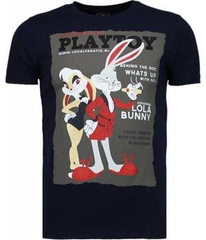 Local Fanatic Playtoy Bunny - Rhinestone T-shirt - Navy