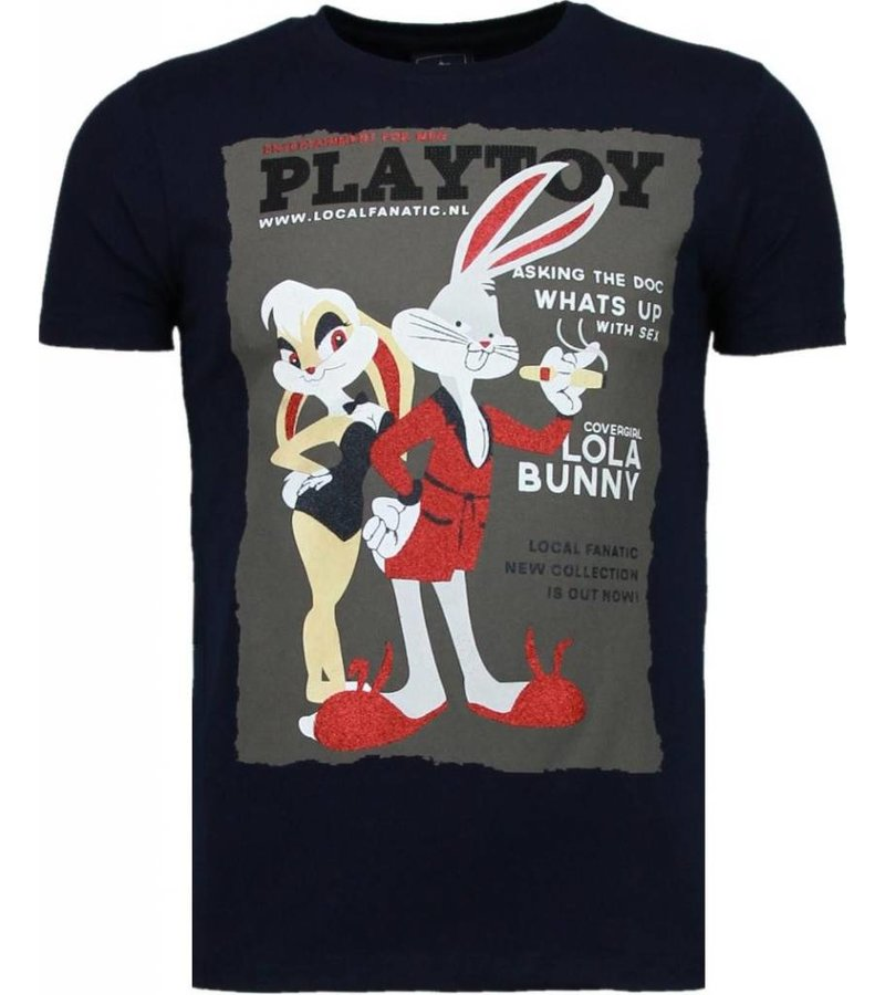 Local Fanatic Playtoy Bunny - Rhinestone T-shirt - Navy