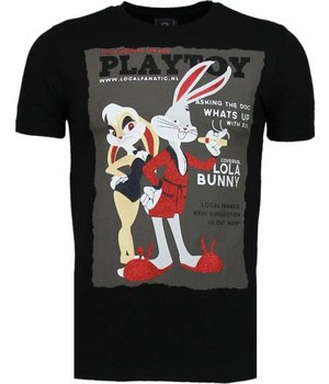 Local Fanatic Playtoy Bunny - Rhinestone T-shirt - Zwart