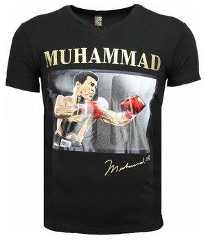 Mascherano T-shirt - Muhammad Ali Glossy Print - Zwart