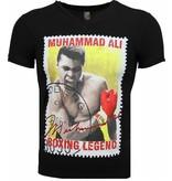 Mascherano T-shirt - Muhammad Ali Zegel Print - Zwart
