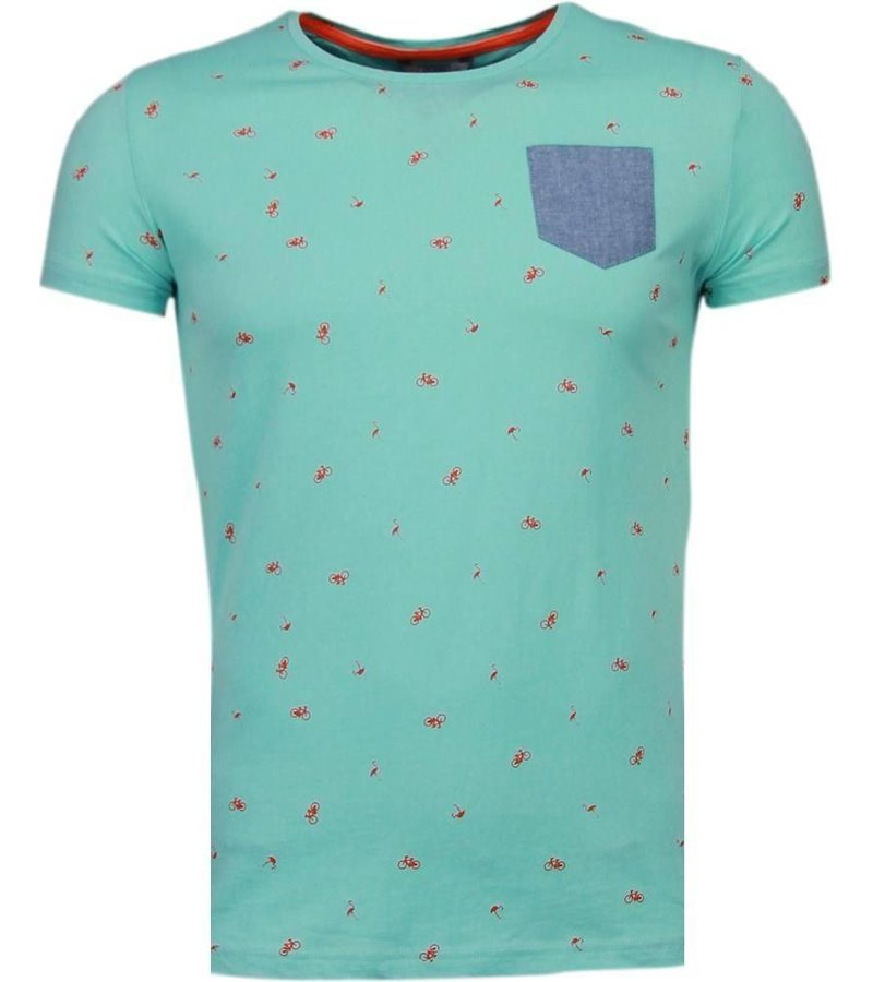Black Number Flamingo - T-Shirt - Turquoise