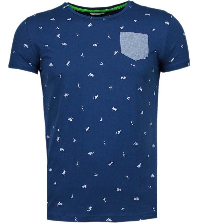 Black Number Flamingo - T-Shirt - Navy