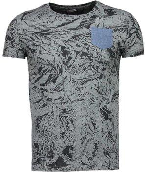 Black Number Forrest Motief - T-Shirt - Grijs/Zwart