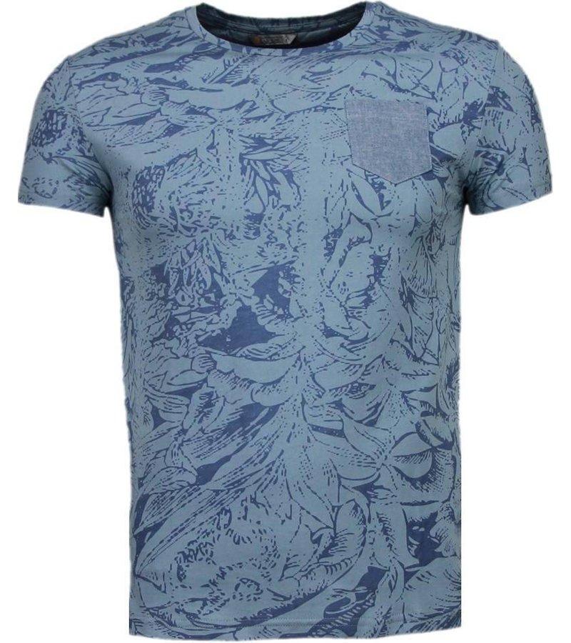 Black Number Forrest Motief - T-Shirt - Blauw