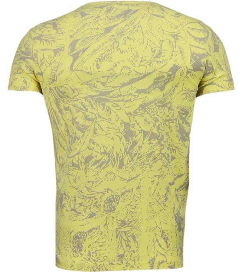 Black Number Forrest Motief - T-Shirt - Geel