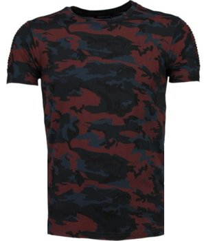 Tony Brend Camouflage Print Ribbel - T-Shirt - Bordeaux