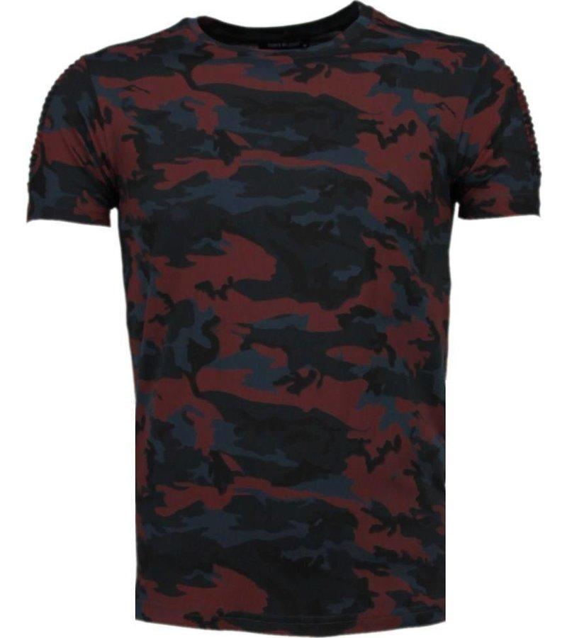 Tony Brend Camouflage Print Ribbel - T-Shirt - Bordeaux