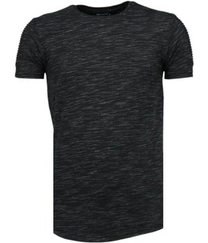 Tony Brend Sleeve Ribbel - T-Shirt - Zwart