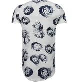 John H Exclusief Blauw Rozen Print - T-Shirt - Wit