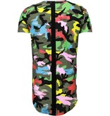 John H Exclusief Kleur Leger Print - T-Shirt - Zwart