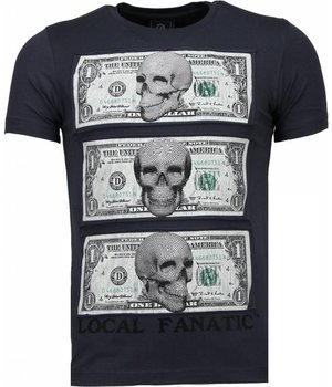 Local Fanatic Beter Have My Money - Rhinestone T-shirt - Donker Grijs