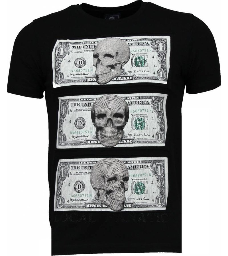 Local Fanatic Beter Have My Money - Rhinestone T-shirt - Zwart