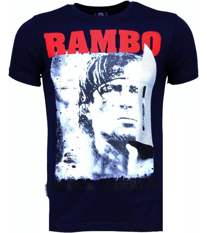 Local Fanatic Rambo - Rhinestone T-shirt - Navy
