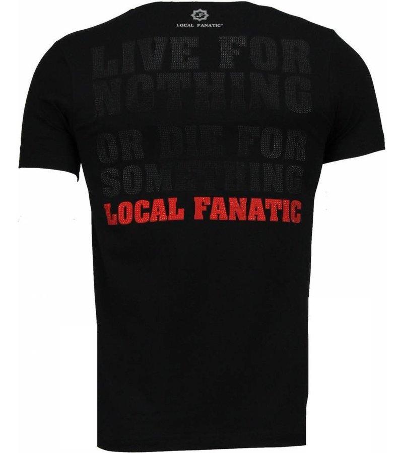 Local Fanatic Rambo - Rhinestone T-shirt - Zwart