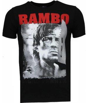 Local Fanatic Rambo - Rhinestone T-shirt - Zwart