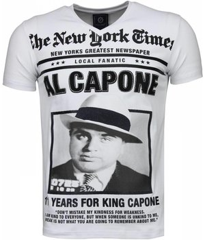 Local Fanatic Al Capone - Rhinestone T-shirt - Wit