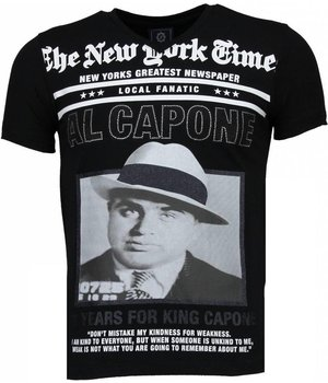 Local Fanatic Al Capone - Rhinestone T-shirt - Zwart