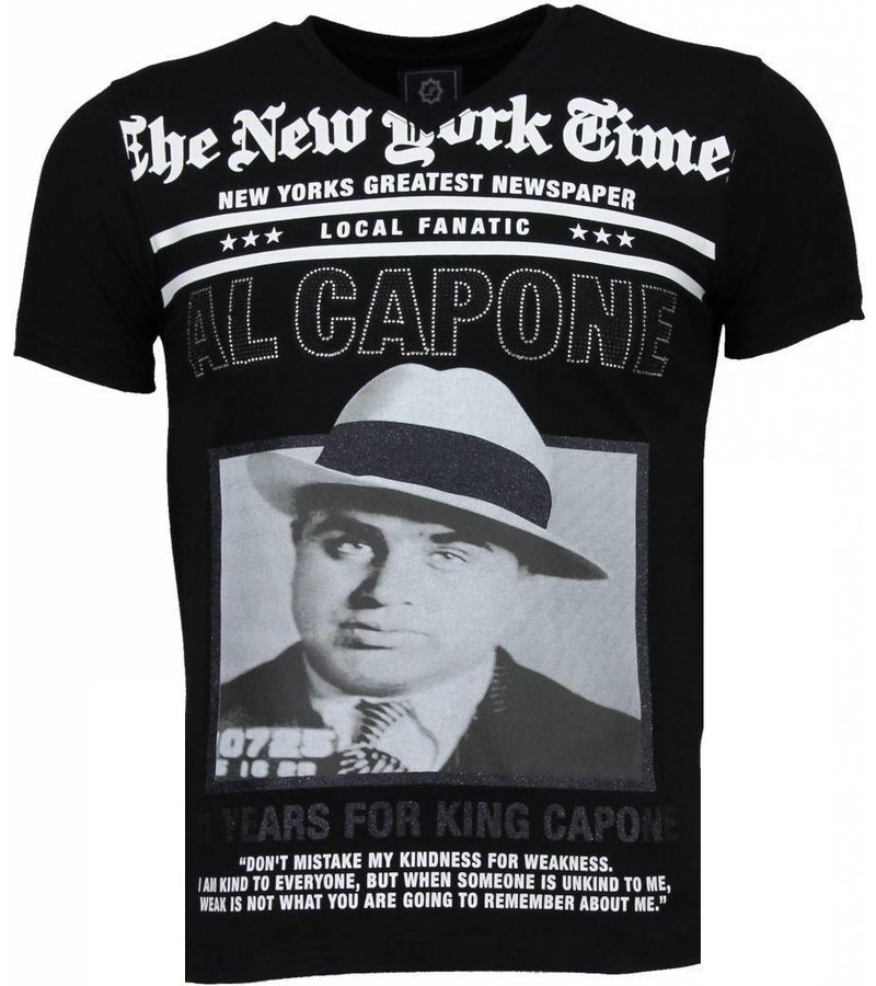 Local Fanatic Al Capone - Rhinestone T-shirt - Zwart