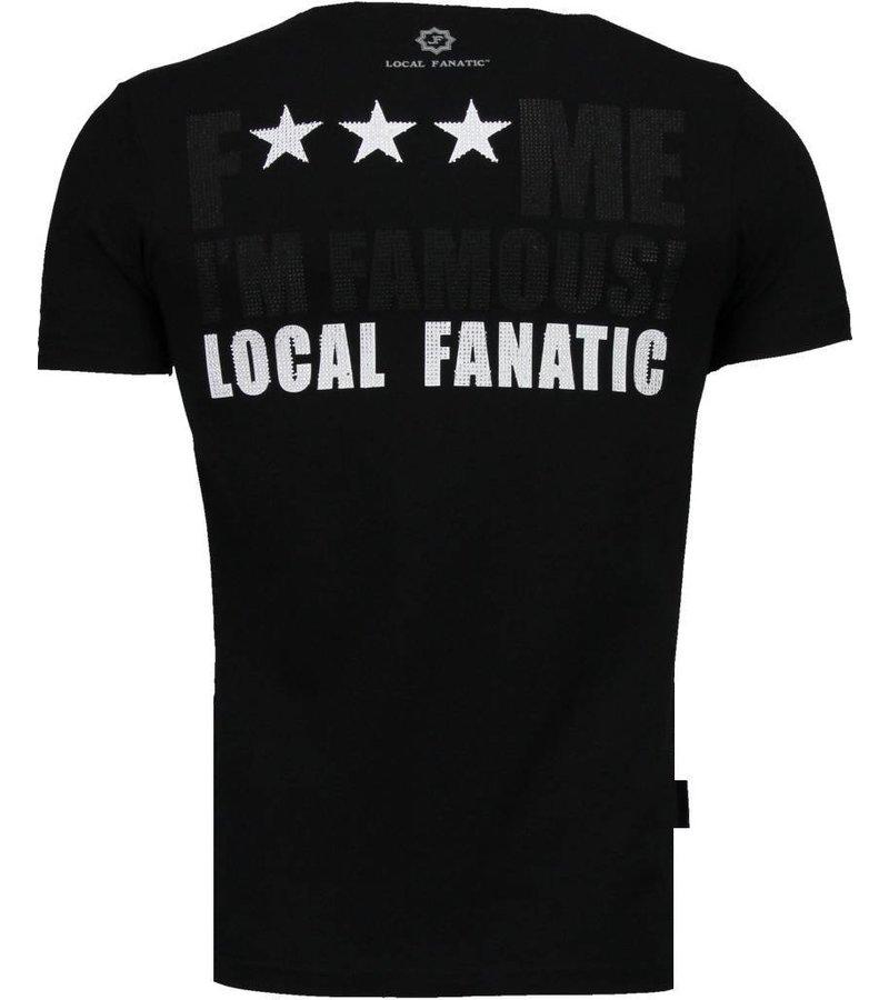 Local Fanatic Kim Kardashian - Rhinestone T-shirt - Zwart