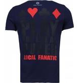 Local Fanatic Hot & Famous Poker - Bar Refaeli Rhinestone T-shirt - Navy