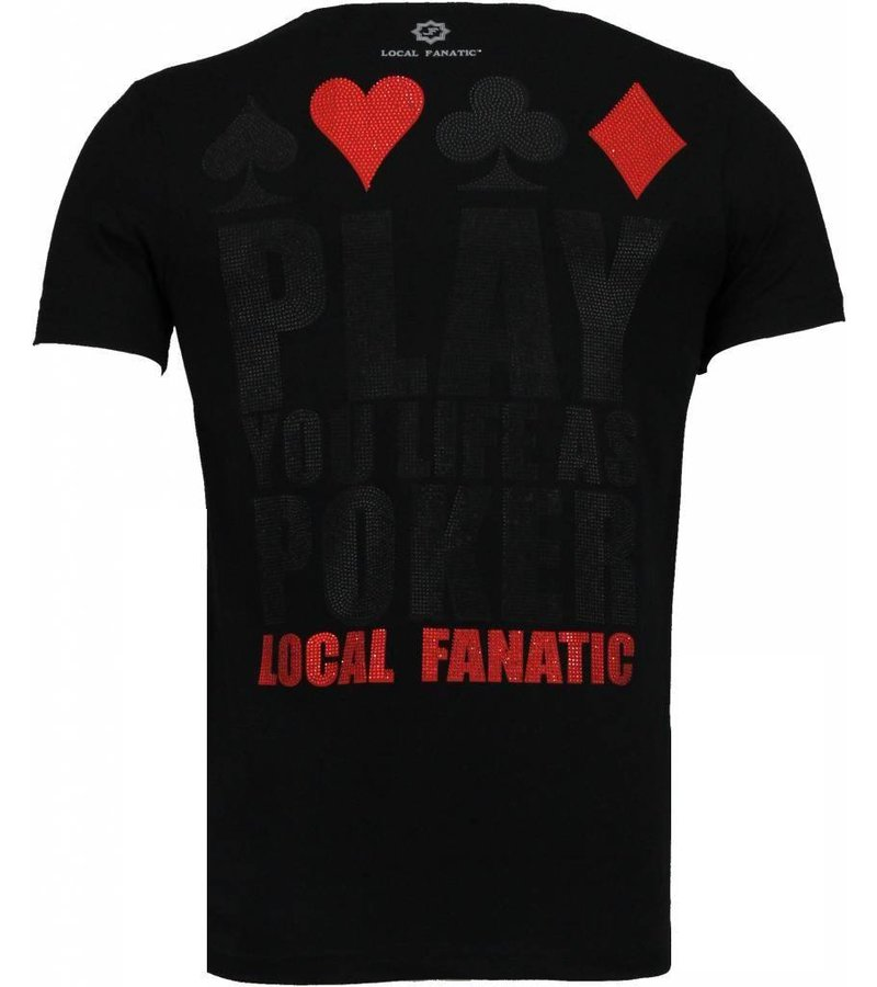 Local Fanatic Hot & Famous Poker - Bar Refaeli Rhinestone T-shirt - Zwart