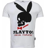 Local Fanatic God Save Playtoy - Rhinestone T-shirt - Wit