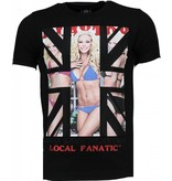Local Fanatic God Save Playtoy - Rhinestone T-shirt - Zwart