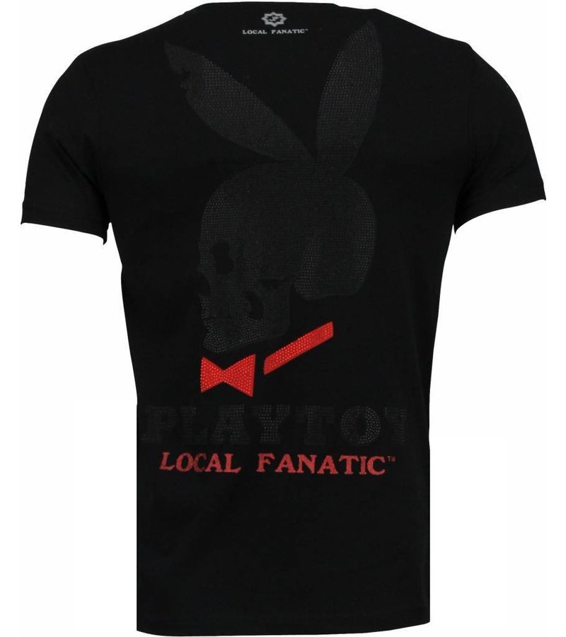 Local Fanatic God Save Playtoy - Rhinestone T-shirt - Zwart