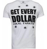 Local Fanatic AK-47 Dollar - Rhinestone T-shirt - Wit