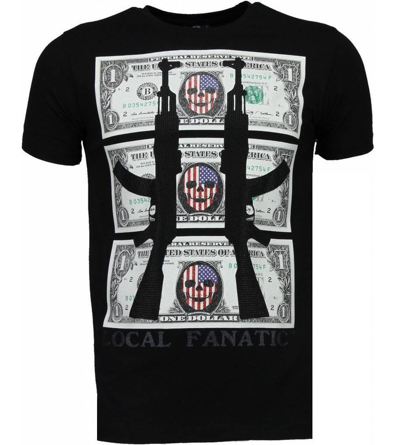 Local Fanatic AK-47 Dollar - Rhinestone T-shirt - Zwart