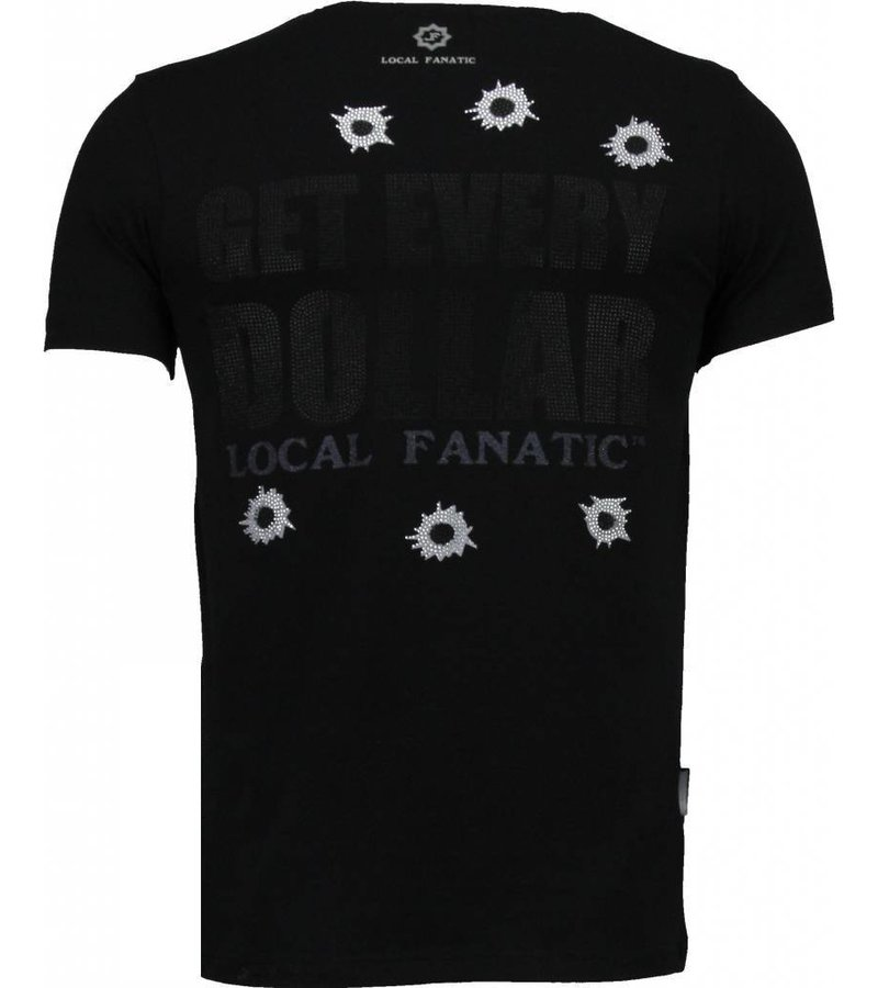 Local Fanatic AK-47 Dollar - Rhinestone T-shirt - Zwart